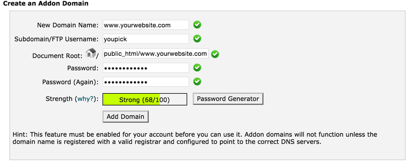 how to add a domain