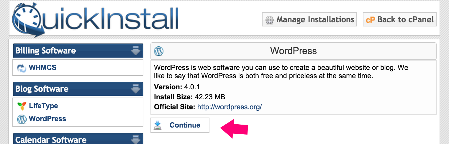 install wordpress to your new blog